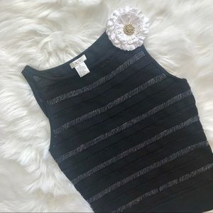 Cache Black Silver Striped Sequinned Tank Blouse